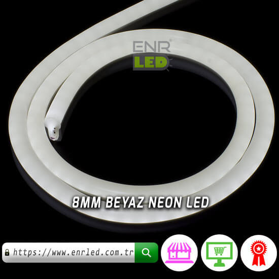 NEON LED 220V 8MM 120 LED - BEYAZ